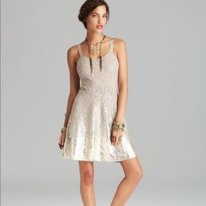 Free people lace mini dress metallic ombré